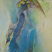 Vogelmensch  140 x 70 cm  Acryl a. Lw